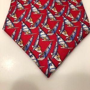 Lauren Ralph Lauren red silk sailboat print tie